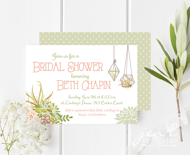 Succulent Bridal Shower Invitations Jen T by Design