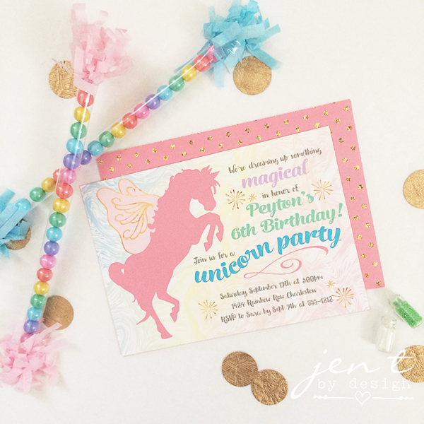 Magical Unicorn Party Invitations Jen T by Design – Unicorn Birthday Party Invitations