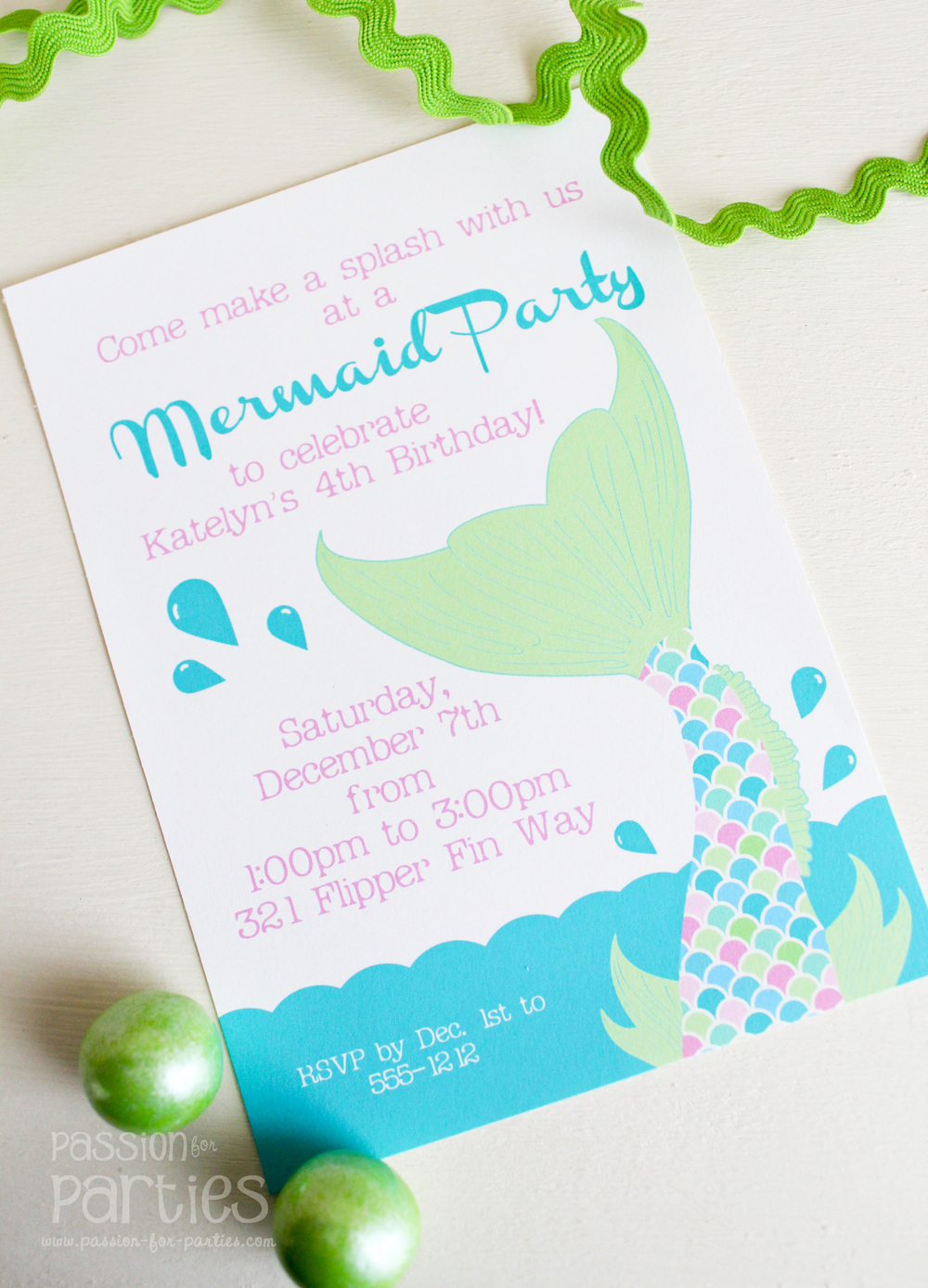 Mermaid Party Invitations — Jen T. by Design