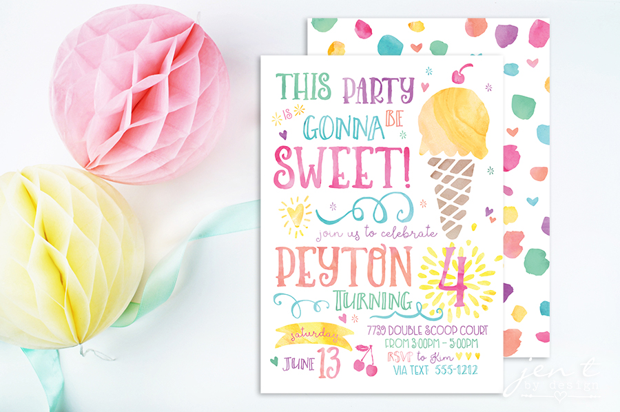 Watercolor Ice Cream Party Invitations Jen T by Design – Ice Cream Birthday Party Invitations