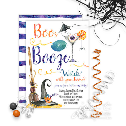 Boos or Booze Halloween Invitations — Jen T. by Design