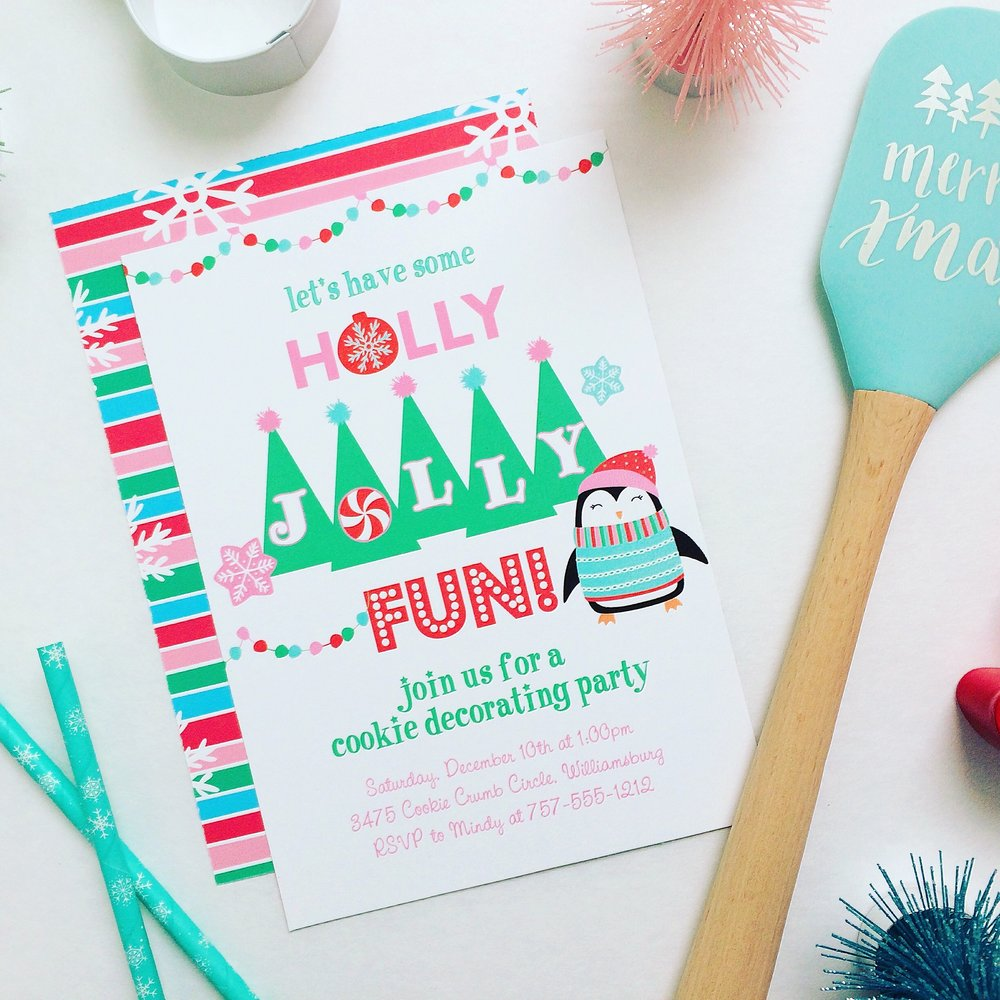 Holly Jolly Christmas Cookie Party Invitations
