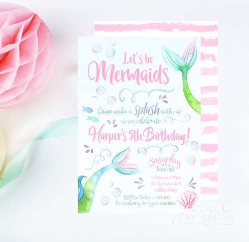 watercolor mermaid invitations jen t by design