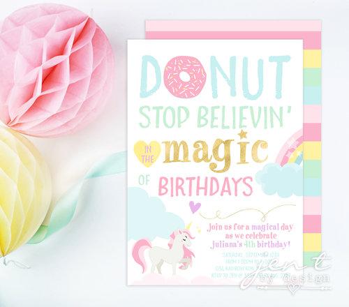 Donut Stop Believing Unicorn Invitations