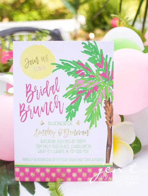Tropical bridal shower invitations palm trees and paradise jen t tropical bridal shower invitations palm trees and paradise filmwisefo