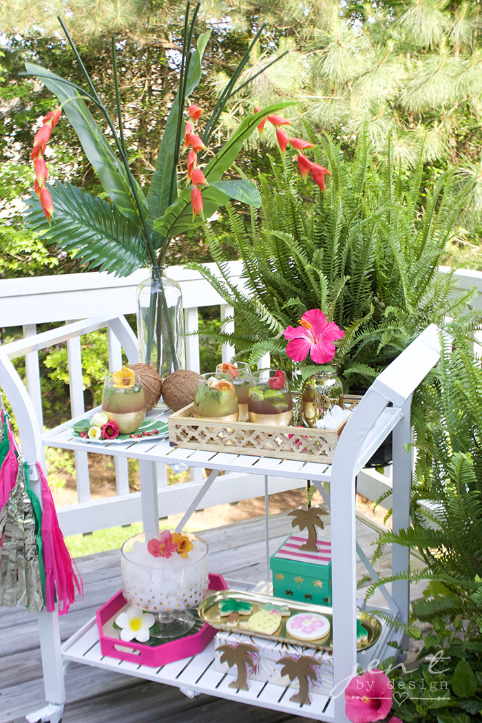 How to Style a Tropical Bar Cart - JenTbyDesign.com