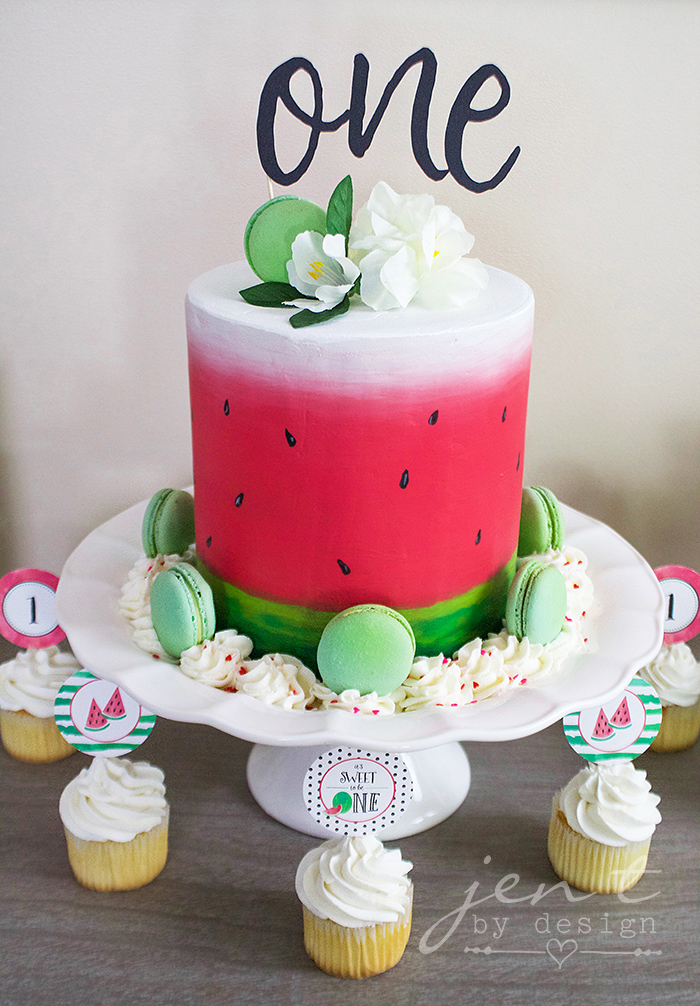 Watermelon First Birthday - Cricut Cake Topper - Watermelon Cake