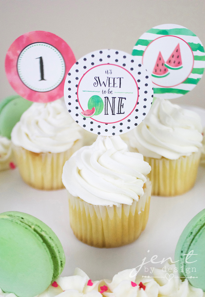 Watermelon First Birthday Party with Cricut - Watermelon Cupcakes