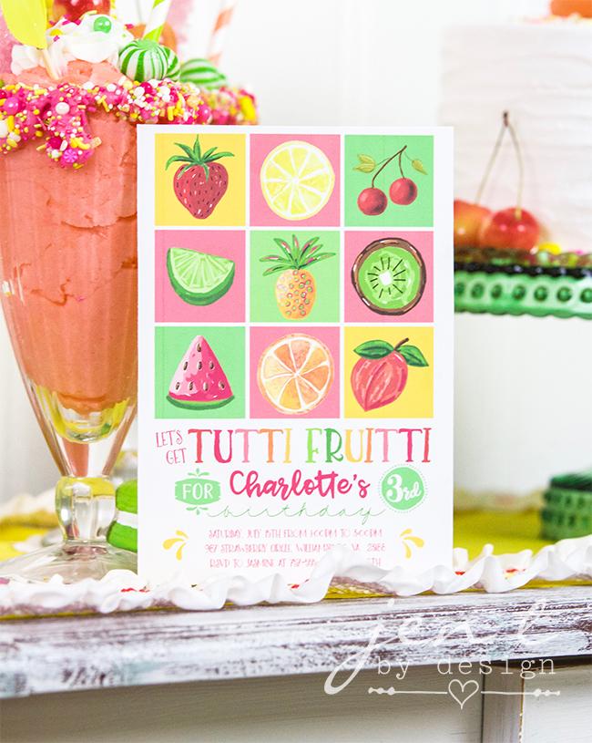 Tutti Frutti Party Invitations - JenTbyDesign.com