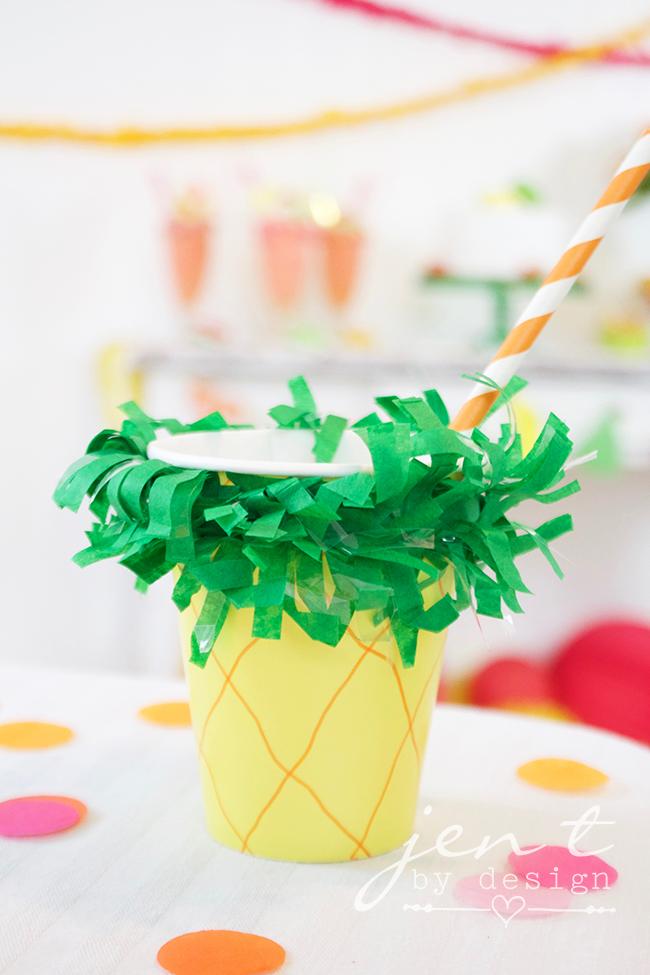 Tutti Frutti Party - DIY Pineapple Cup - JenTbyDesign