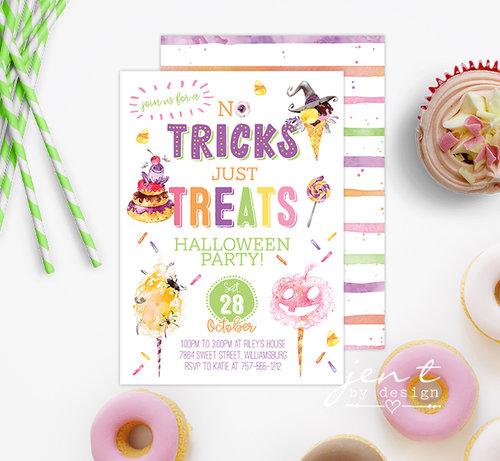 halloween candy party invitations no tricks just treats jen t