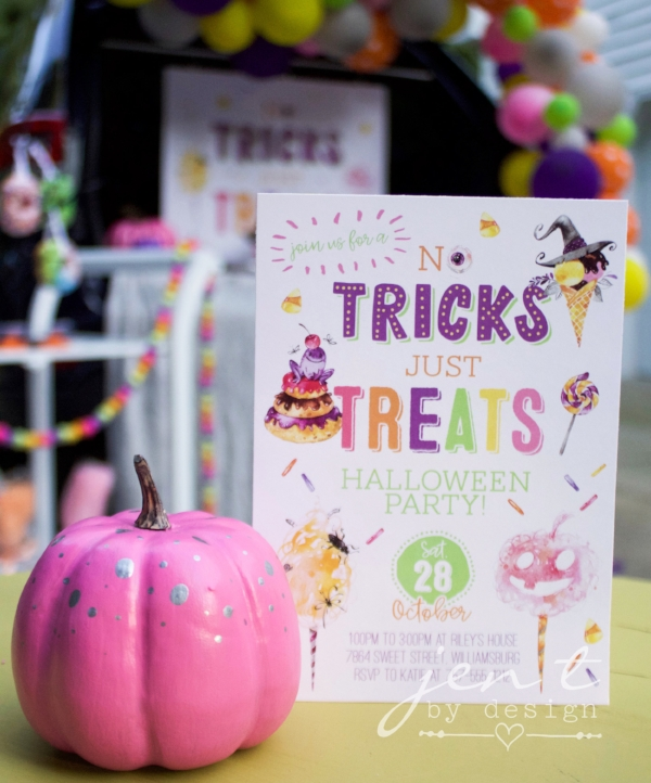 No Tricks Just Treats Halloween Party Invitations.jpg