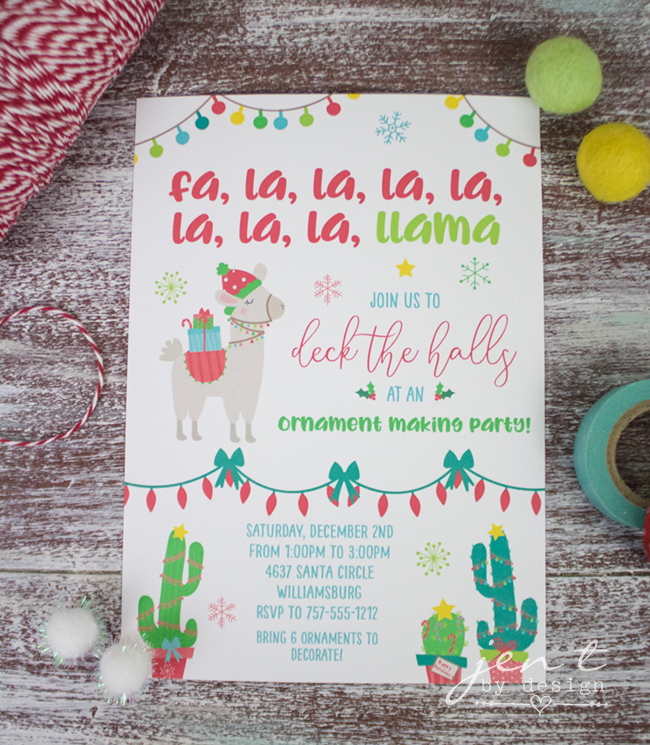 Kids Ornament Decorating Party Invitation- Llama Deck the Halls.jpg