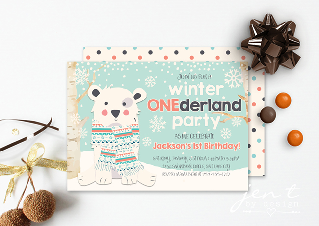 Winter ONEderland Boy Birthday Invitations by Jen T by Design