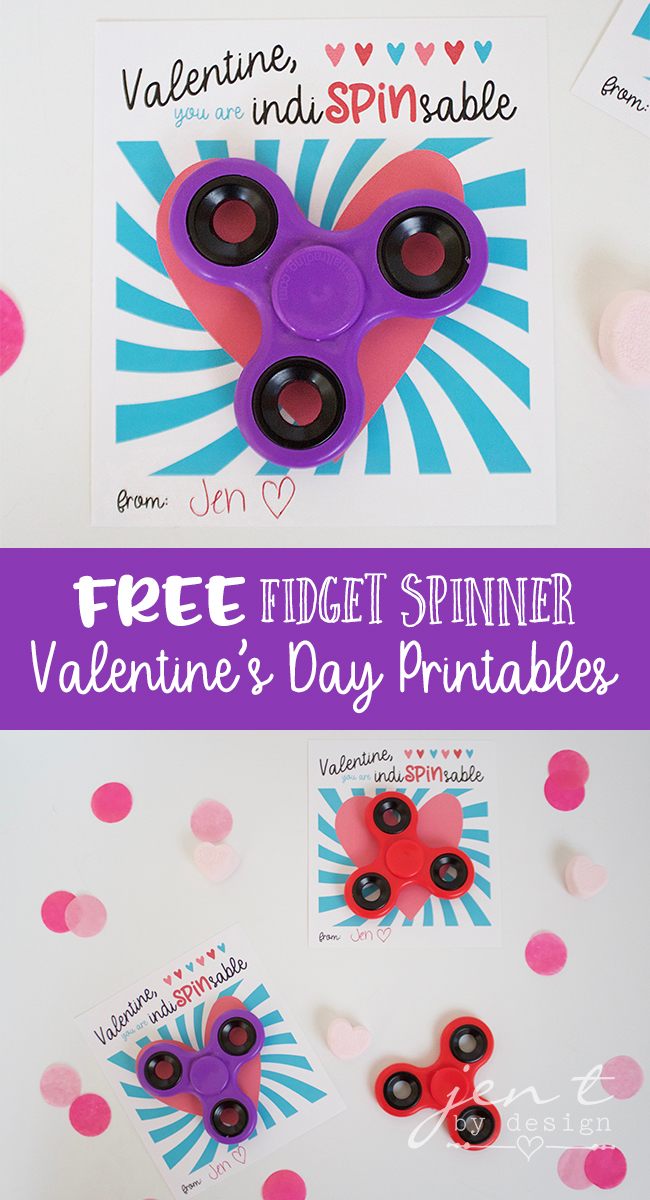 FREE Valentine's Day Printable | Fidget Spinner Valentine - Jen T by Design
