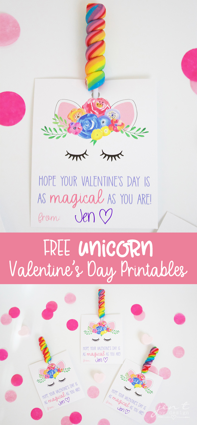 FREE Valentine's Day Printable | Unicorn Valentine - Jen T by Design
