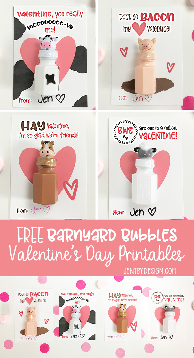FREE Valentine's Day Printables | Bubble Valentines | Farm Animal Valentines - Jen T by Design.com