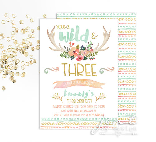 wild and three birthday invitation tribal third birthday