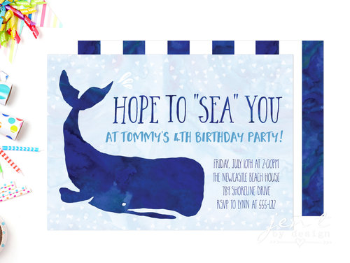 Whale Invitations Jen T By Design