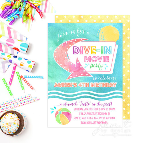 dive in movie invites dive in movie party summer party invites