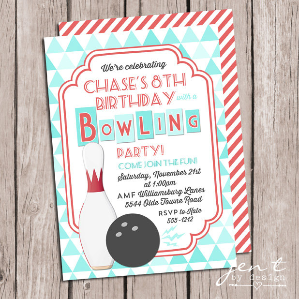 Bowling Party Invitations Bowling Invitations Jen T By Design