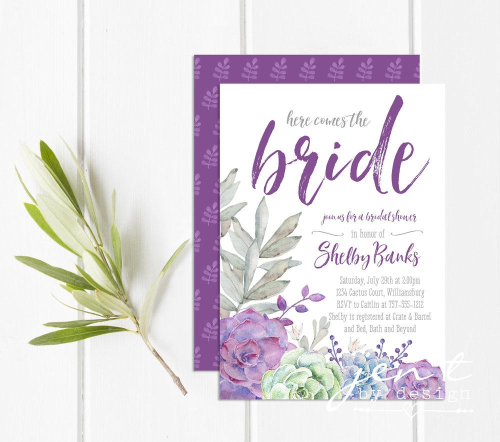 Succulent Bridal Shower Invitations Plum Bridal Shower Bridal Shower Invite Jen T By Design