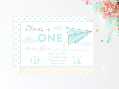 First Birthday Paper Airplane Invitations