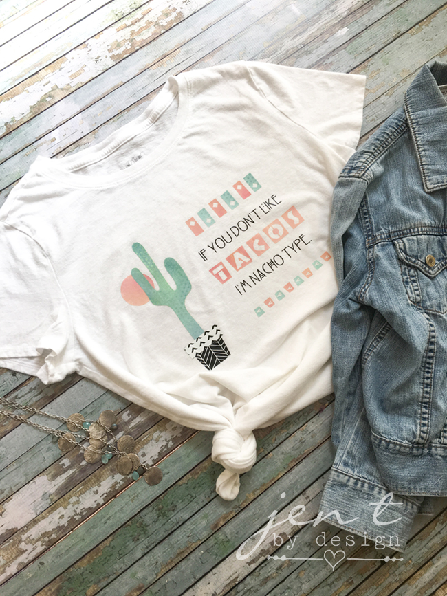 DIY Cinco de Mayo Shirt using Patterned Iron-on from Cricut!  Jen T by Design #ad #CricutStrongBond #CricutMade #Cricut