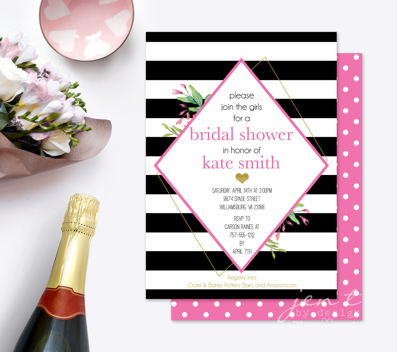 Kate Spade Inspired Bridal Shower Invitation Jen T By Design