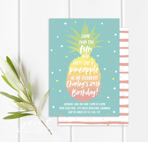 pineapple party invitations jen t by design