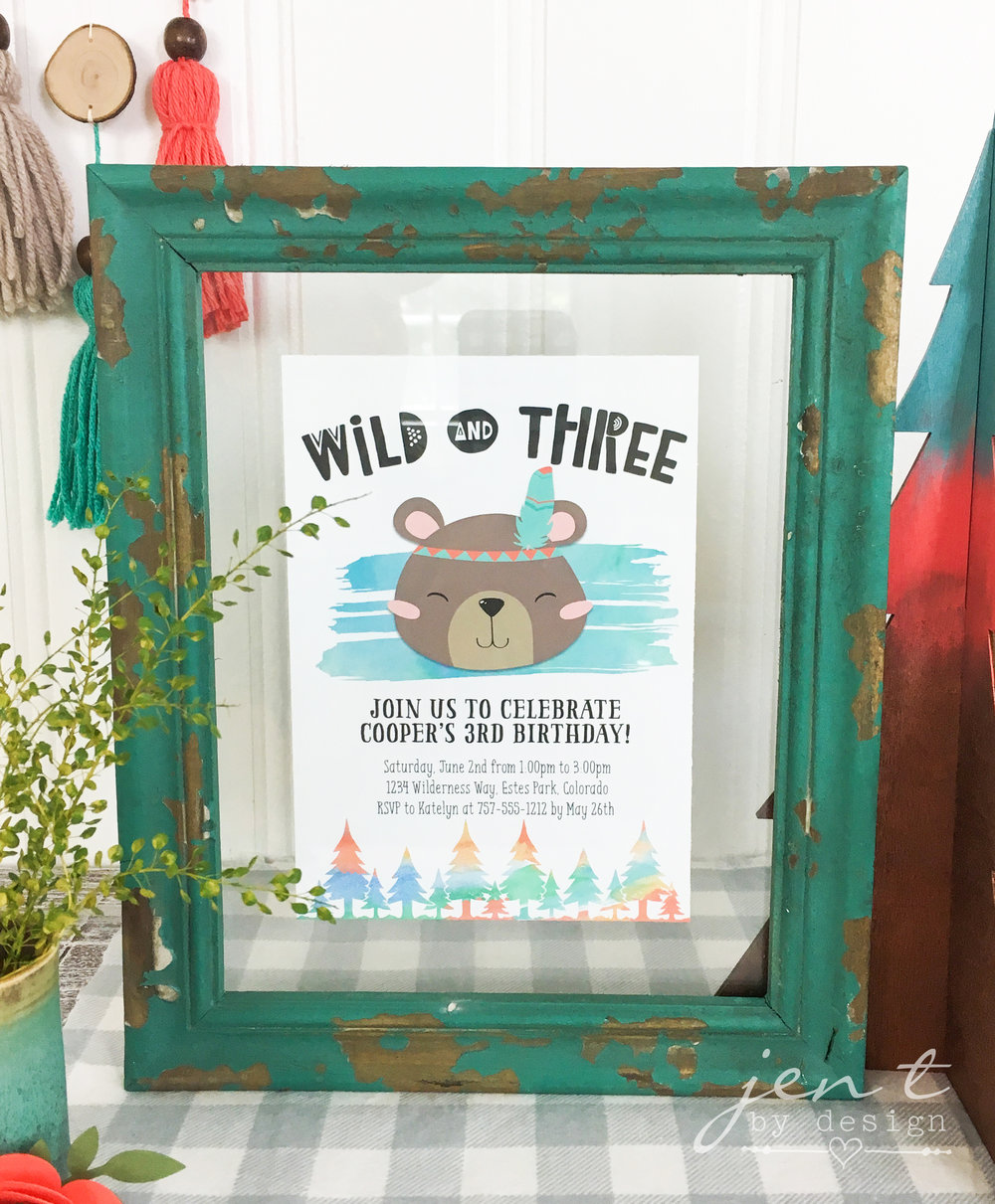Wild and Three Woodland Tribal Invitation - Jen T by Design