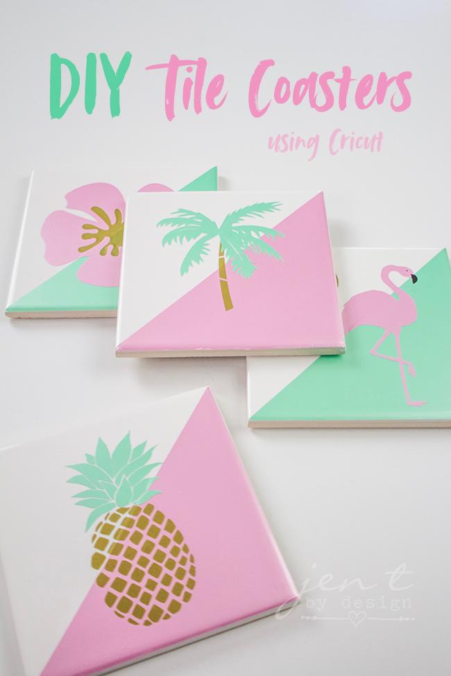 DIY Tile Coasters with Cricut Permanent Vinyl — Jen T  by Design