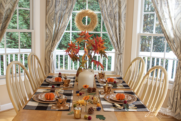 Buffalo Check Thanksgiving Table with Martha Stewart Party Supplies from Michaels - Jen T by Design #ad #CricutMarthaStewart #MadeWithMichaels #CricutMade #Cricut