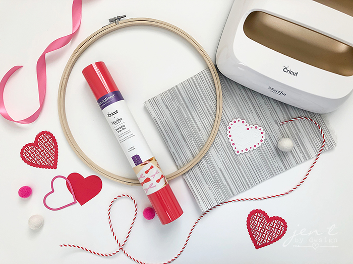Valentine's Day Embroidery Hoop Decor  with Cricut and Martha Stewart ~ JenTbyDesign.com