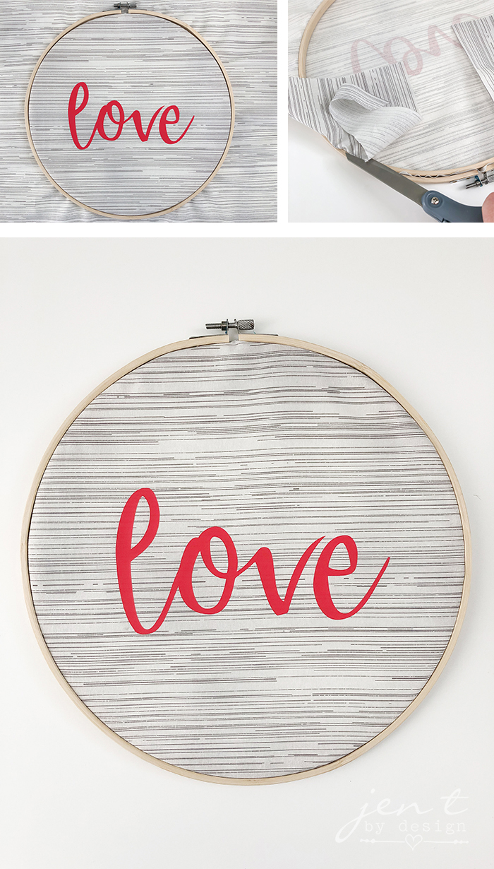 Valentine's Day Embroidery Hoop Decor with Cricut and Martha Stewart - JenTbyDesign.com