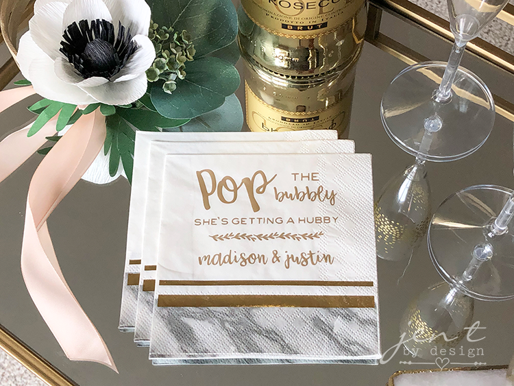 Personalized Bridal Shower Napkins with Cricut and Martha Stewart #ad #cricut #cricutmarthastewart #cricutmade #madewithmichaels