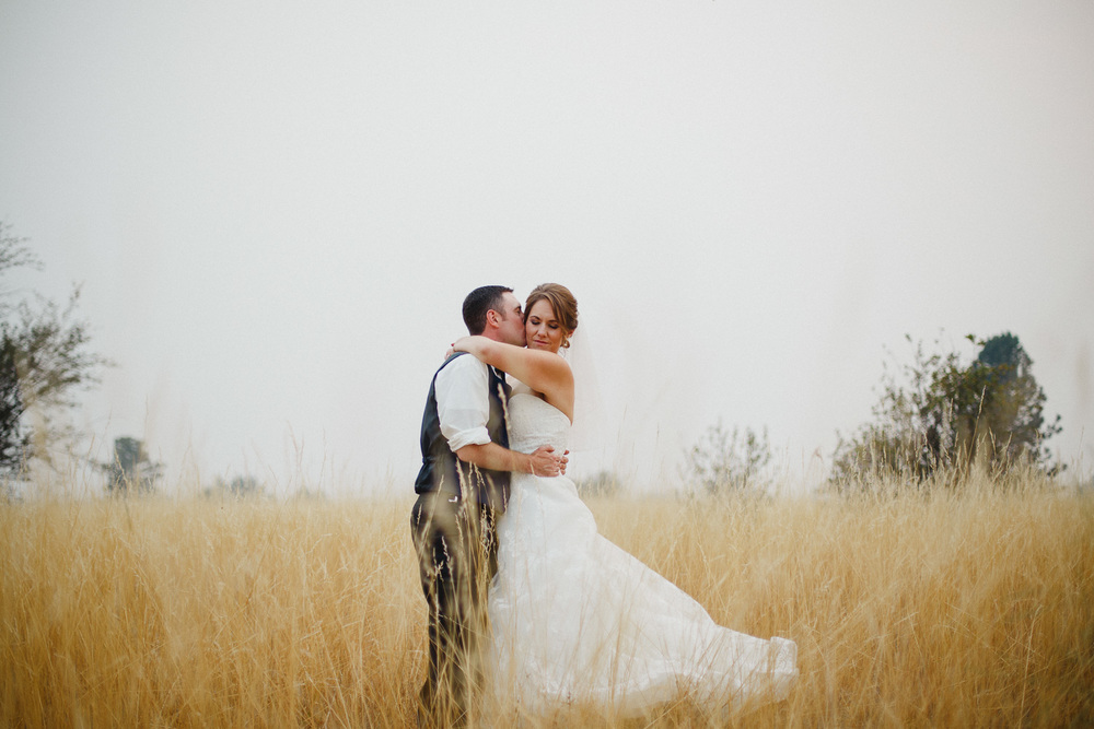 Wedding Portrait in a Wheat Field in Otis Orchards