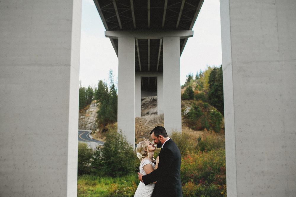 Mead Wedding Couple Portrait under Overpass