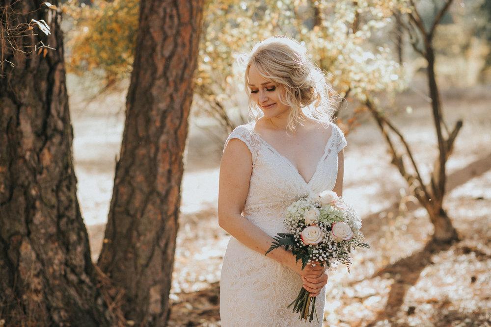Warm sunset bridal portrait in Spokane