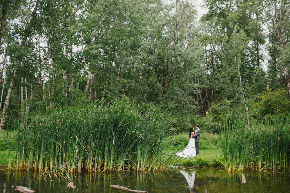 Aspen Grove Wedding Portrait by the pond