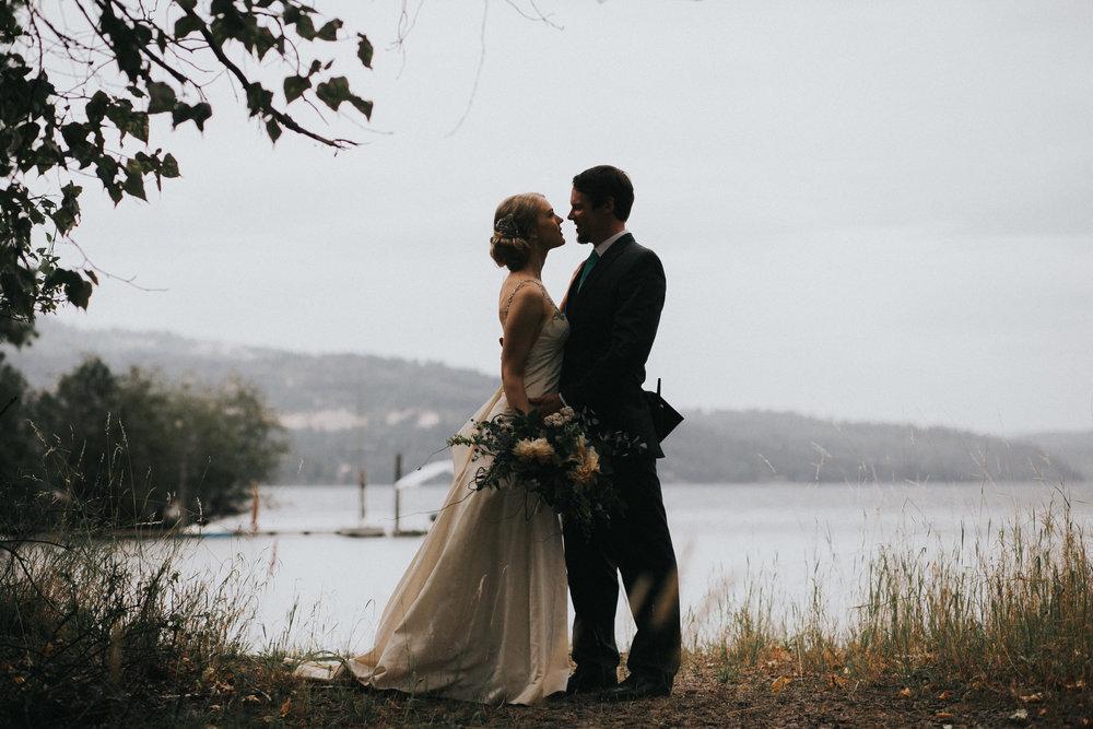 Coeur d Alene Lake Wedding Portrait at N-Sid-Sen