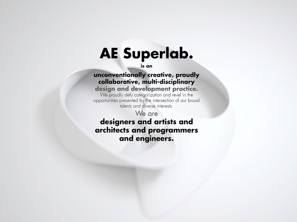 AE Superlab was founded by Ahmed ElHusseiny. Ahmed is a trained architect who has designed major buildings across four continents and at scales ranging from single family residences to 400m+ skyscrapers. Ahmed is also an artist, photographer and filmmaker whose works have been extensively exhibited and screened throughout the US and internationally.