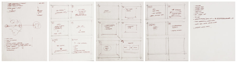 Initial storyboard sketches from kickoff meeting.