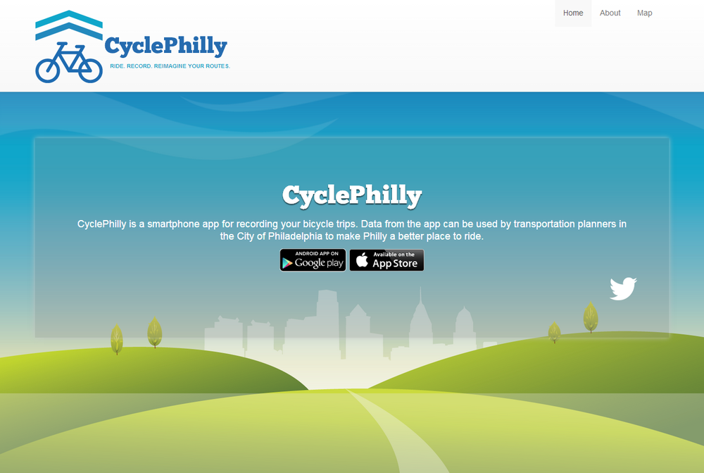 CyclePhilly is a project I started at Code for Philly.   CyclePhilly is a smartphone app for recording your bicycle trips. Data from the app can be used by transportation planners in the City of Philadelphia to make Philly a better place to bike.  My focus was on the design elements, project strategy and collaboration with city agencies. Code for Philly's programmers did the heavy lifting on the app and backend. Meanwhile, I built some frontend web coding skills and learned about data visualization, SQL/Php, JavaScript and app development.