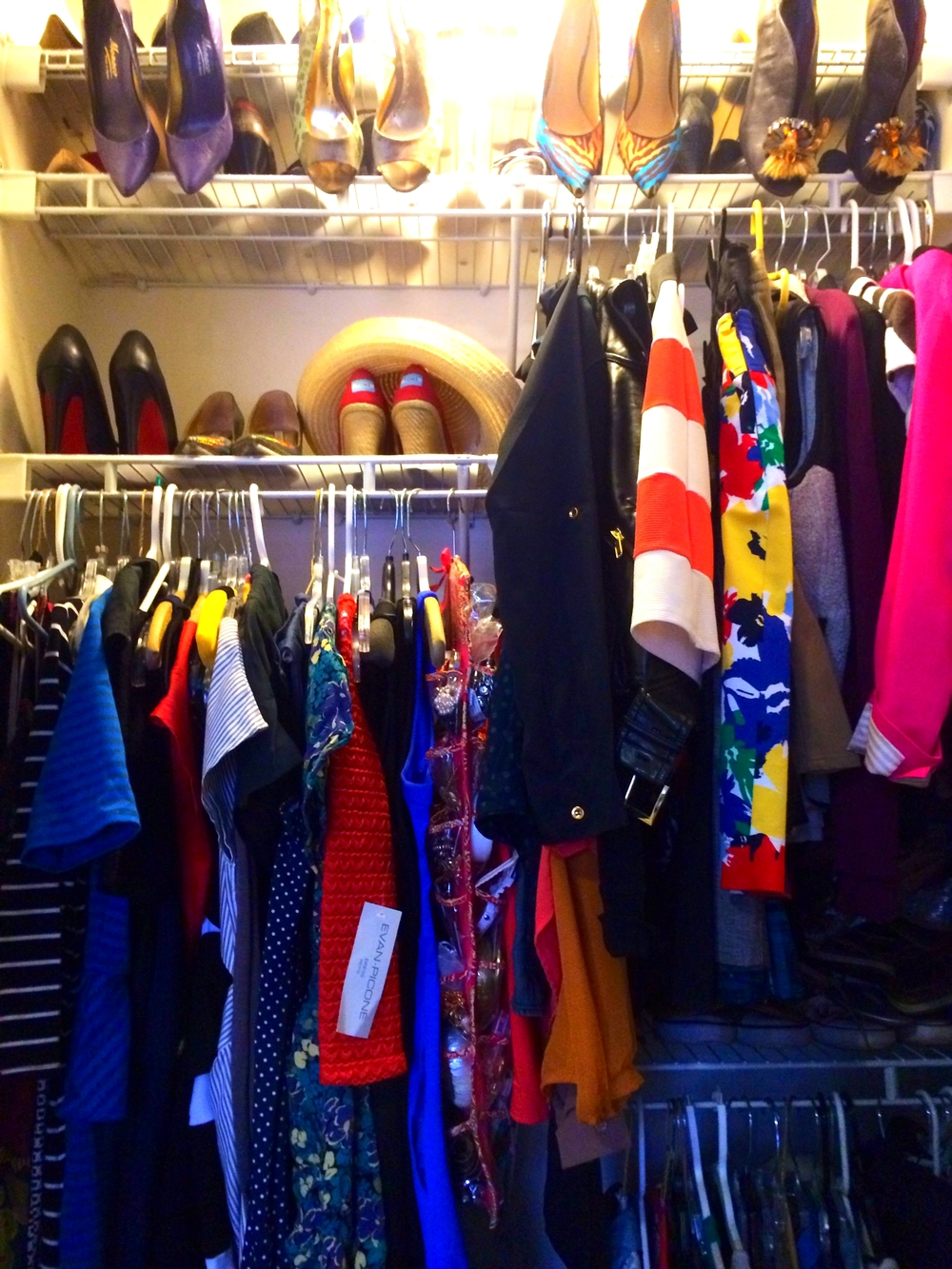 How to fit 28 years of clothing in one tiny closet.