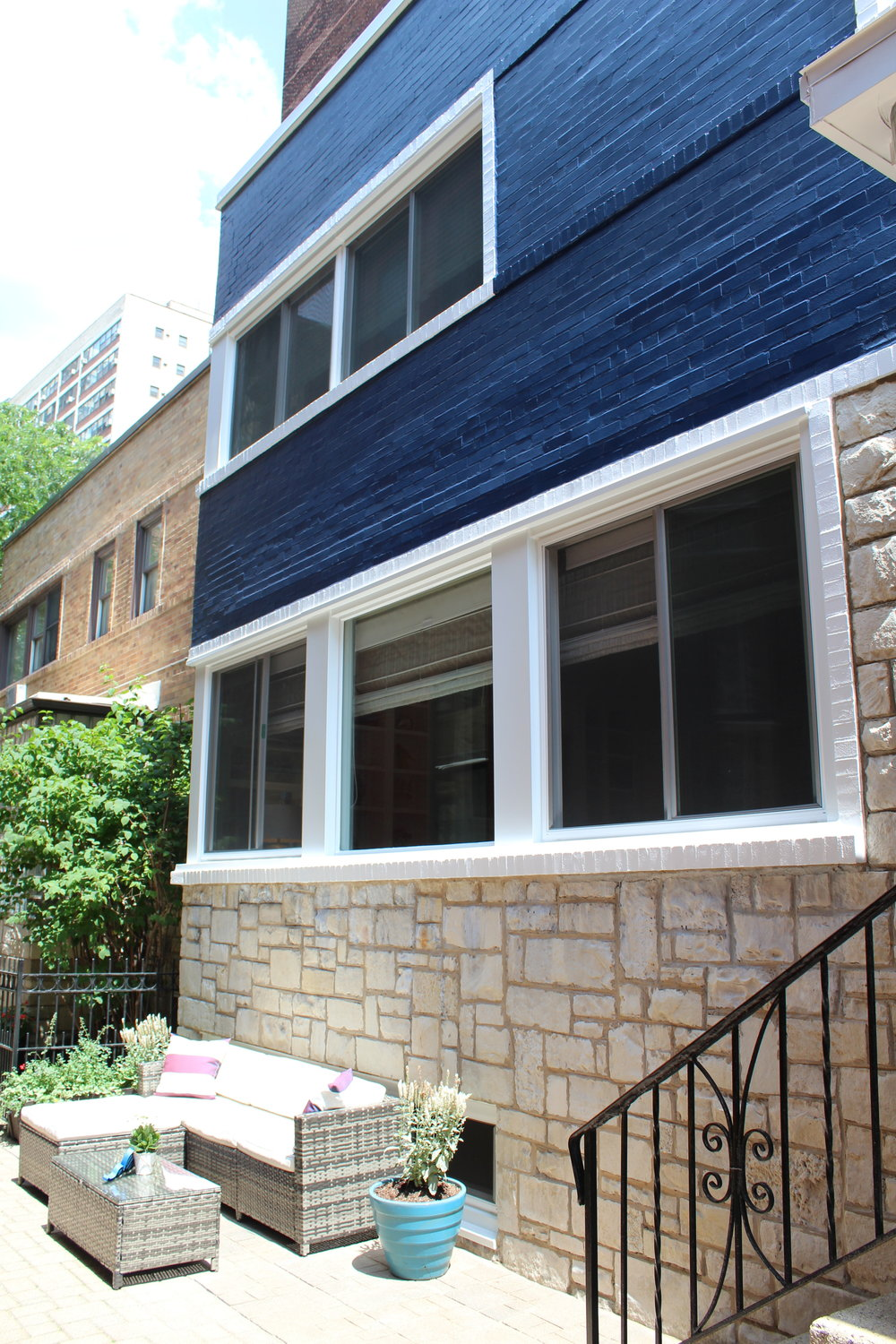 1. Navy and White Paint 2. Acid Wash Stone 3. New Windows