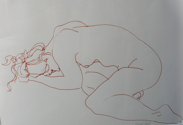 Nude in Orange Ink,  pen and ink, 2010