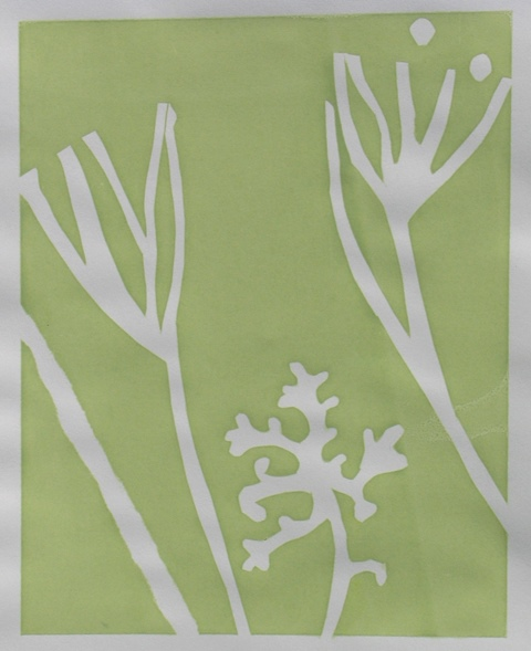 Seaweed form I , unique silkscreen,  2012