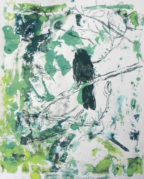 Notes from a London garden , unique monotype, 2009