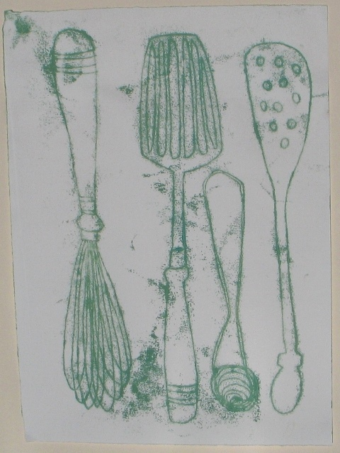 Utensils , unique monotype, 2013